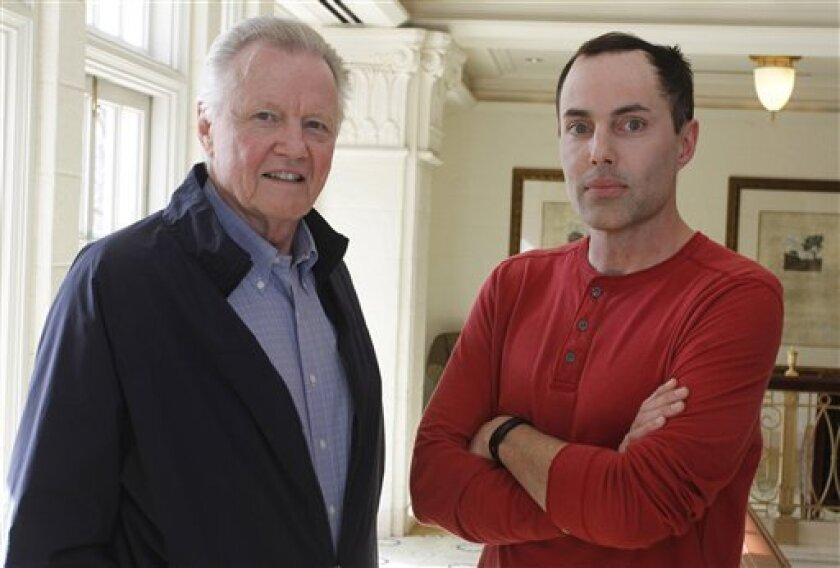 "Actor Jon Voight, left, and his son, James Haven, were photographed together during an interview about Haven's film ""Deep In The Heart"" last year in Austin, Texas. They were in Escondido to comfort Haven's aunt (Voight's ex sister-in-law), Debbie Martin, who died Sunday. (AP Photo/Jack Plunkett)"