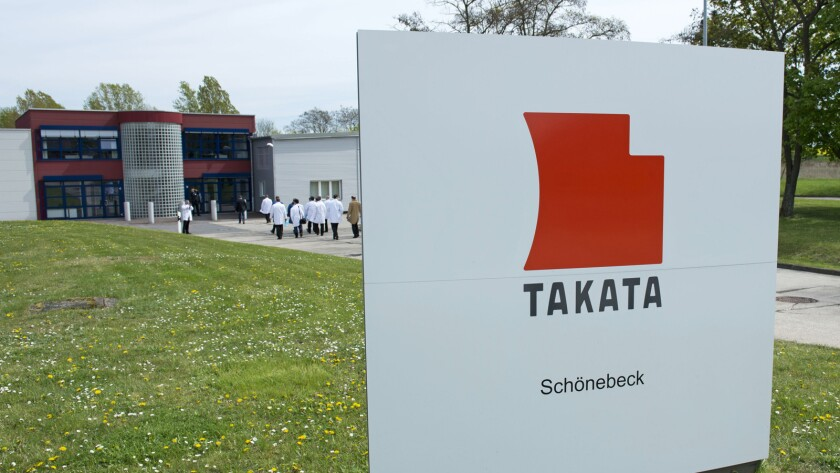 A production facility for international automotive supplier Takata Ignition Systems GmbH in Schoenebeck, Germany, is shown. U.S. safety regulators want automakers and Takata Corp. to expand nationwide the recall of vehicles with problematic air bags.
