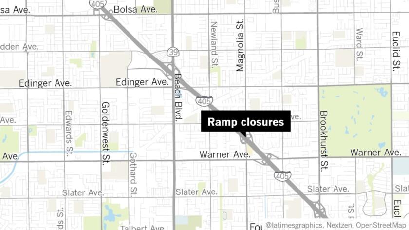 405 ramp closures at Magnolia Street