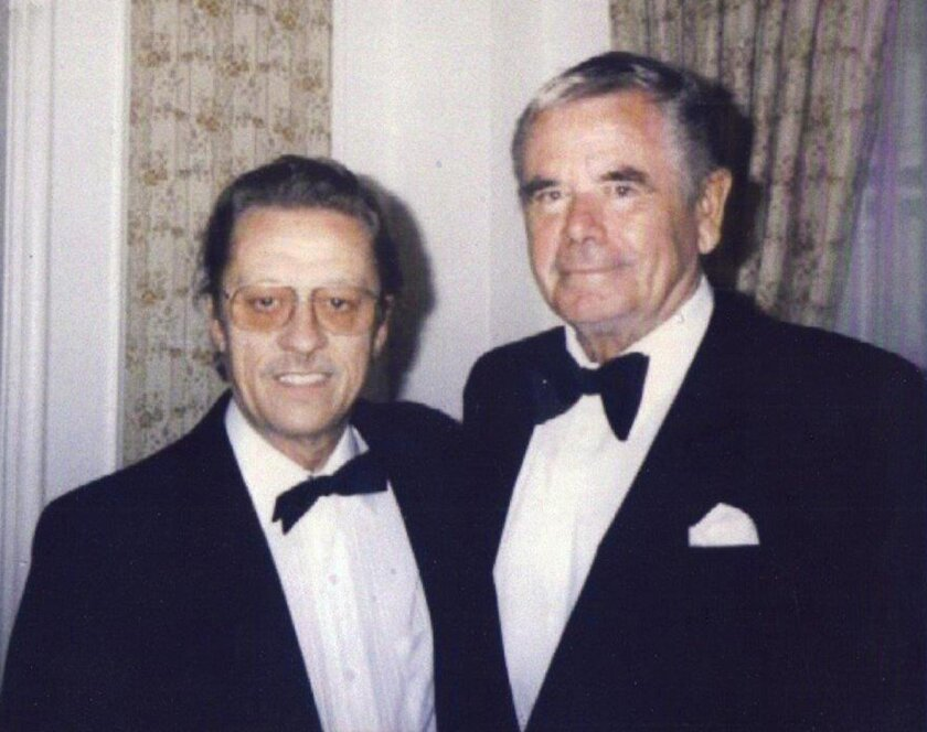 Norm Johnson with actor Glenn Ford at the Beverly Hills Hotel.