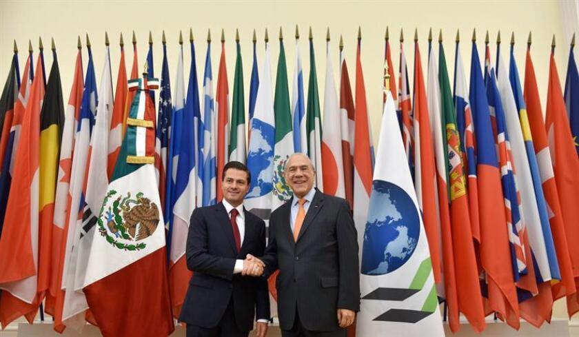 Fotografía cedida por la Presidencia Mexicana hoy, lunes 11 de diciembre de 2017, del presidente de México Enrique Peña Nieto (i), durante un encuentro con el secretario general de la Organización para la Cooperación y el Desarrollo Económicos (OCDE), José ángel Gurria (d), en París (Francia). EFE