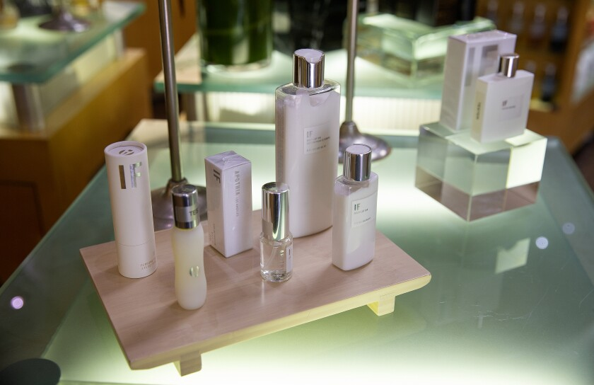Ron Robinson's fragrance line, Apothia, on display at his Melrose Avenue store