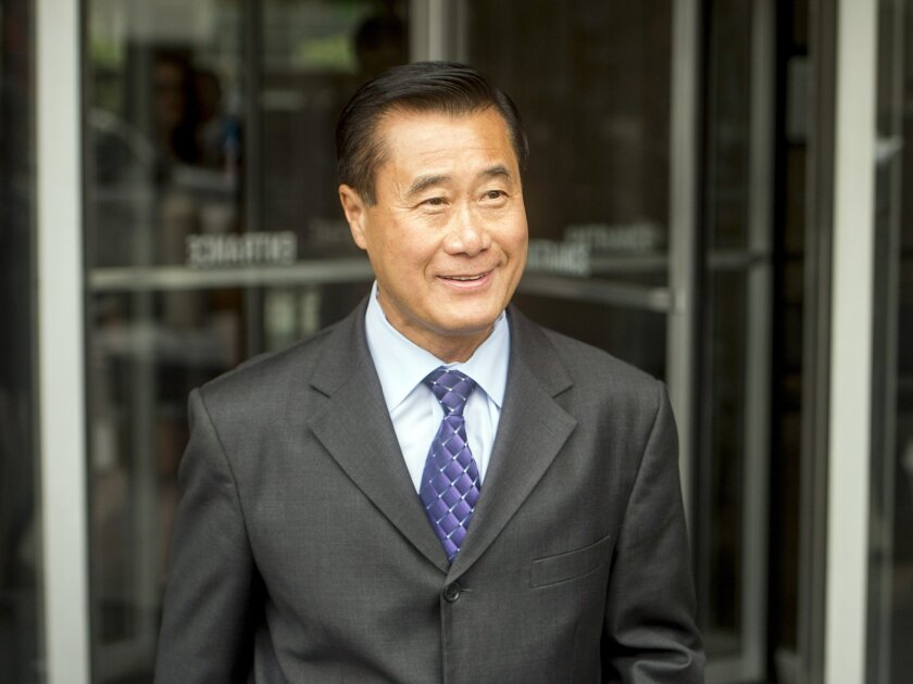 FILE - In this July 31, 2014 file photo, California state Sen. Leland Yee, D-San Francisco, leaves federal court in San Francisco. The former California state senator Yee is expected to be sentenced Wednesday, Feb. 24, 2016, after acknowledging in a plea deal that he accepted thousands of dollars in bribes and discussed helping an undercover FBI agent buy automatic weapons from the Philippines. Yee's attorneys have called for no more than five years and three months behind bars, saying Yee has a history of public service and his wife is ill. (AP Photo/Noah Berger, File)