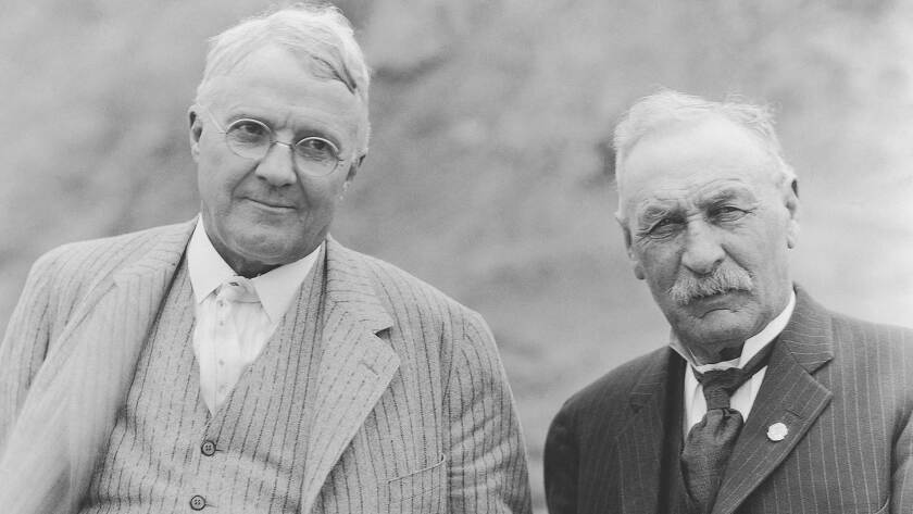 Harry Chandler, right, and William Mulholland.
