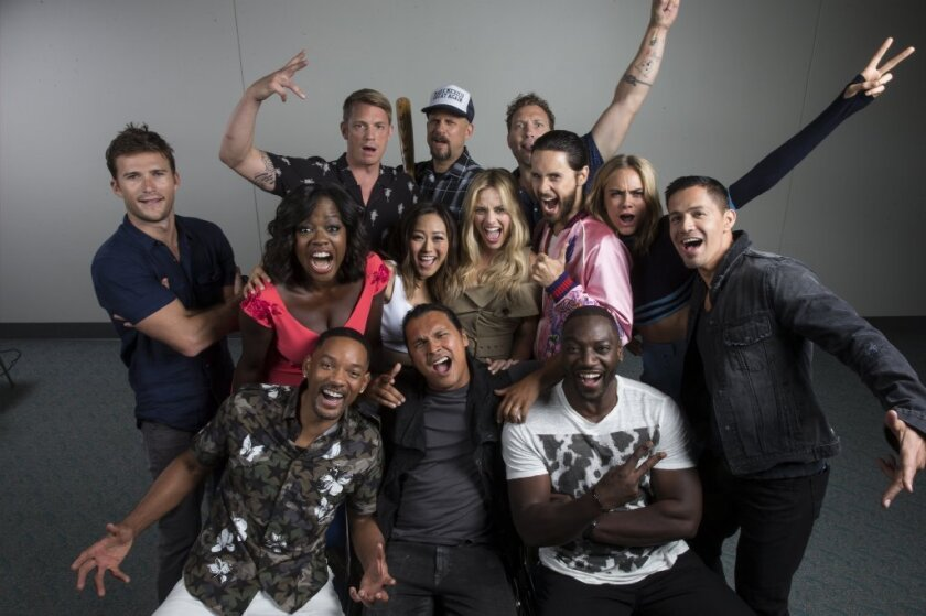 "The ""Suicide Squad"" squad: Front row, Will Smith, Adam Beach, Adewale Akinnuoye-Agbaje; second row, Scott Eastwood, Viola Davis, Karen Fukuhara, Margot Robbie, Jared Leto, Cara Delevingne, Jay Hernandez; back row, Joel Kinnaman, director David Ayer and Jai Courtney."