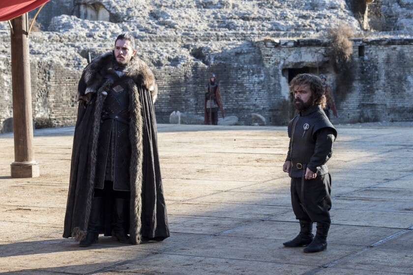 "Kit Harington as Jon Snow and Peter Dinklage as Tyrion Lannister in the ""Game of Thrones"" episode ""T"