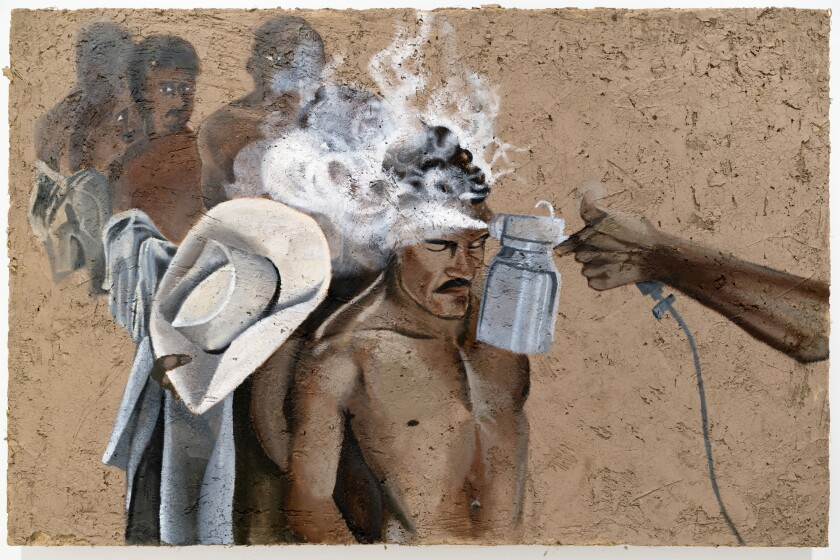 A 2019 painting by Rafa Esparza shows Mexican immigrant laborers being sprayed with insecticide at a border processing center.