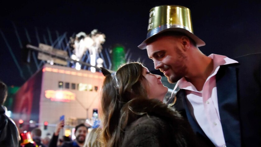 Revelers celebrate New Year's Eve along the Las Vegas Strip Monday, January 1, 2018, in Las Vegas. C