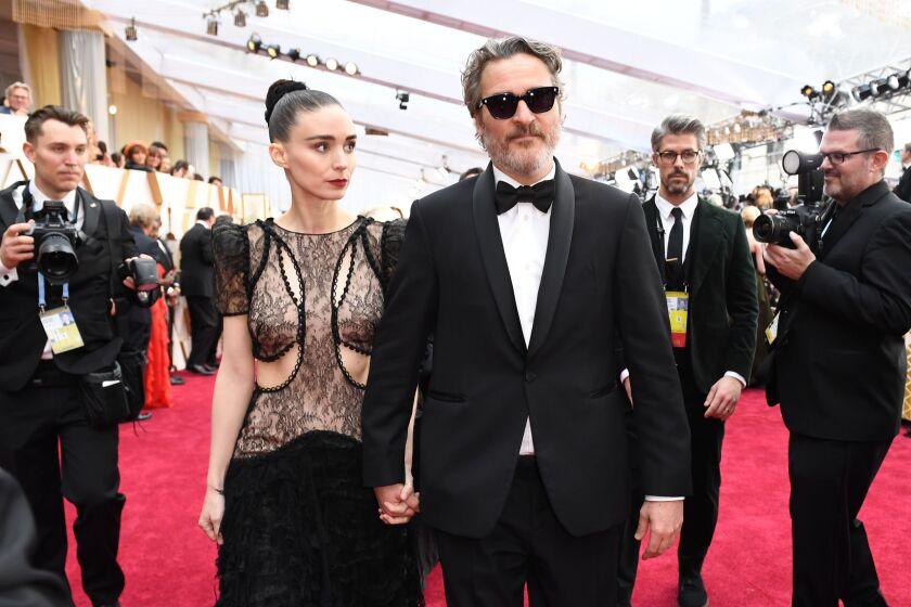 Actors Rooney Mara and Joaquin Phoenix at the Oscars