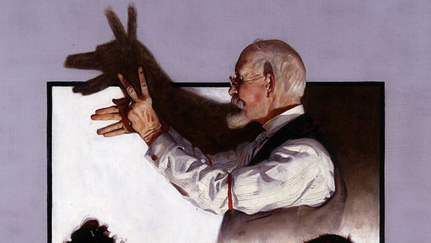 """A detail of Norman Rockwell's painting """"Shadow Artist,"""" from 1920."""