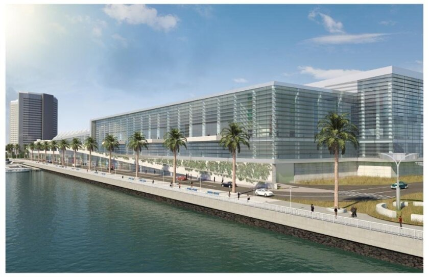 The convention center would be expanded over the current truck docks and allow for inclusion of retail spaced on the ground level, an 80,000-square-foot ballroom facing the bay, 225,000 square feet of additional exhibit space and 101,000 square feet of meeting space.