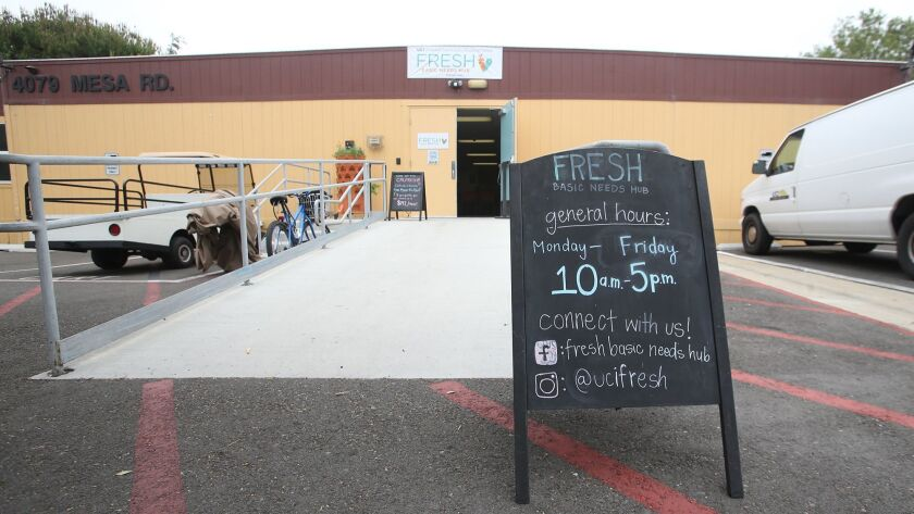 The Associated Students of UC Irvine Senate voted Thursday to declare food insecurity a campus emergency and commit $400,000 in funding to the FRESH Basic Needs Hub on campus, seen here.