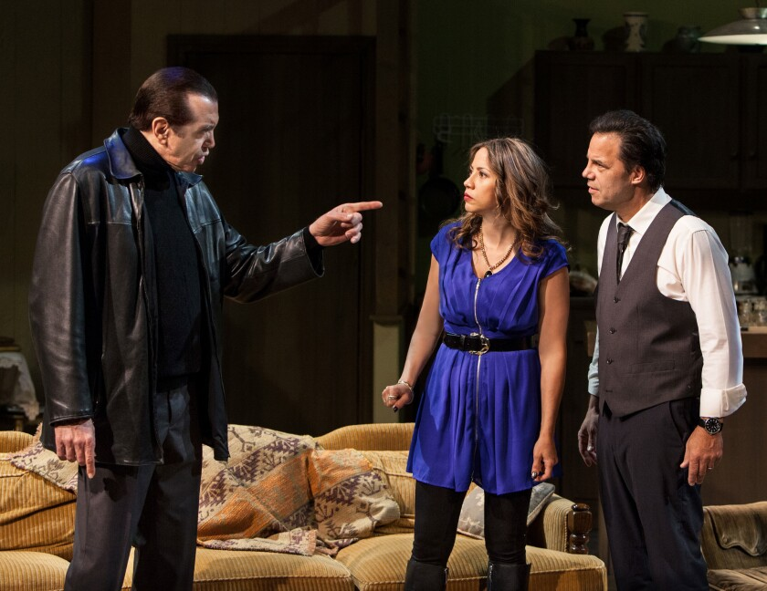 """Chazz Palminteri, Elizabeth Rodriguez and Kenny D'Aquila star in D'Aquila's """"Unorganized Crime,"""" in its world premiere at the Elephant Theatre."""