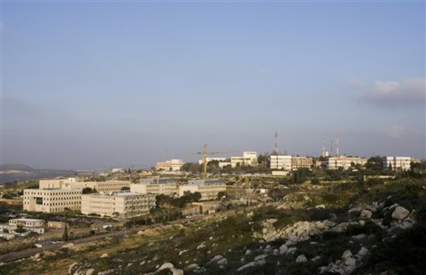 """In this photo taken Tuesday, Feb. 2, 2010, the Ariel college is seen in the West Bank Jewish settlement of Ariel. The planned upgrade of the college, which already calls itself a """"university center,"""" is perhaps the most controversial in Israel. (AP Photo/Moti Milrod)"""