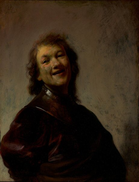 """""""Rembrandt Laughing,"""" a self-portrait oil painting on copper, is from about 1628."""