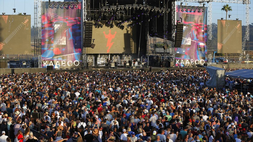 Fans surround the Grandview Stage as KAABOO Del Mar. The five-year-old festival was sold to Virgin Fest on Wednesday.