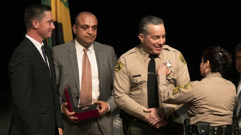 MONTEREY PARK, CA-DECEMBER 3, 2018: Alex Villanueva, the new Los Angeles County Sheriff, has his ne