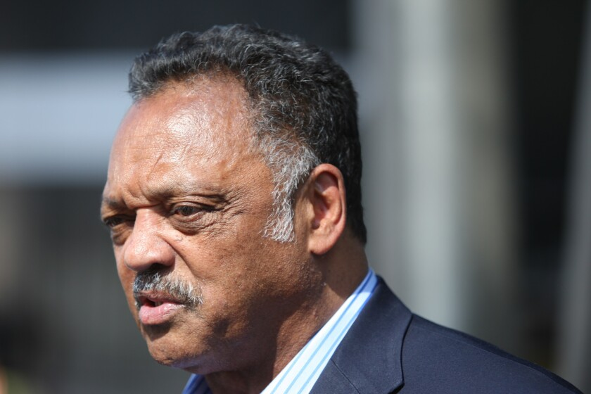 LOS ANGELES, CA.-APRIL 29, 2014: Rev. Jesse Jackson speaks outside the Staples Center as a coalition