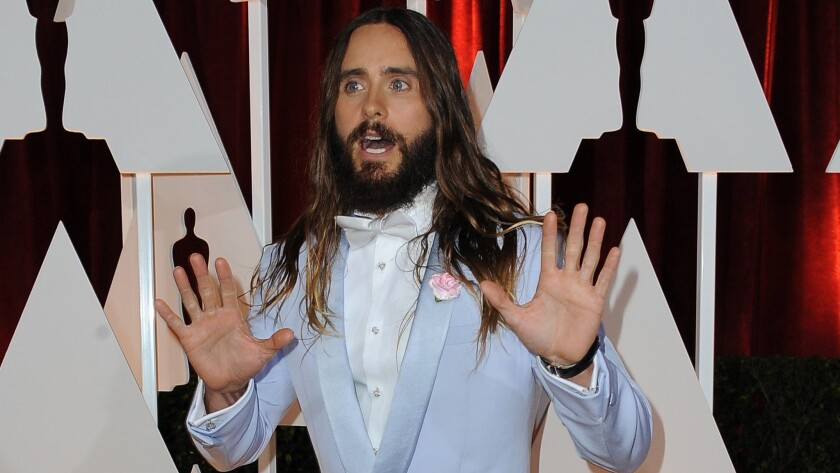 Oh no! Jared Leto's hair is no longer the flowing mane he sported two weeks ago at the Oscars. Damn you, scissors ...
