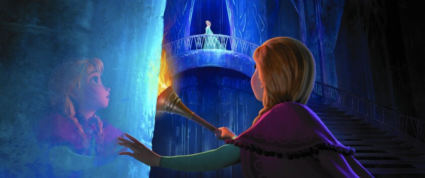 """Consumers have snapped up dolls, wigs, T-shirts and anything else linked to Disney's """"Frozen,"""" the hit 3-D film that follows the adventures of princesses Elsa and Anna. Above, a scene from the movie."""