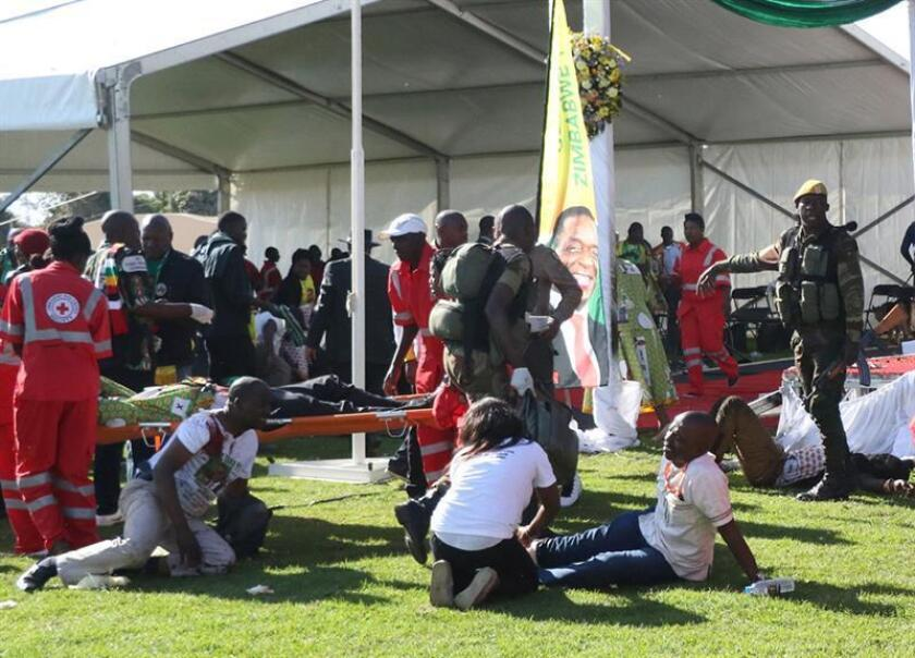 A general view shows the scene of the main stage after a suspected bomb went off at a rally addressed by President Emmerson Mnangagwa, at White City Stadium in Bulawayo, Zimbabwe, 23 June 2018. EFE/EPA/STRINGER