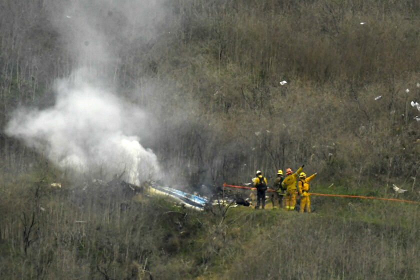The site where the helicopter carrying Kobe Bryant and eight others crashed