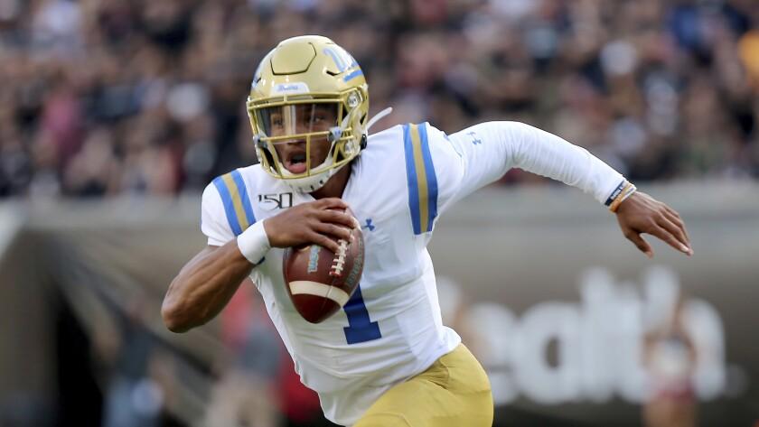 UCLA quarterback Dorian Thompson-Robinson was responsible for four turnovers last week against Cincinnati.