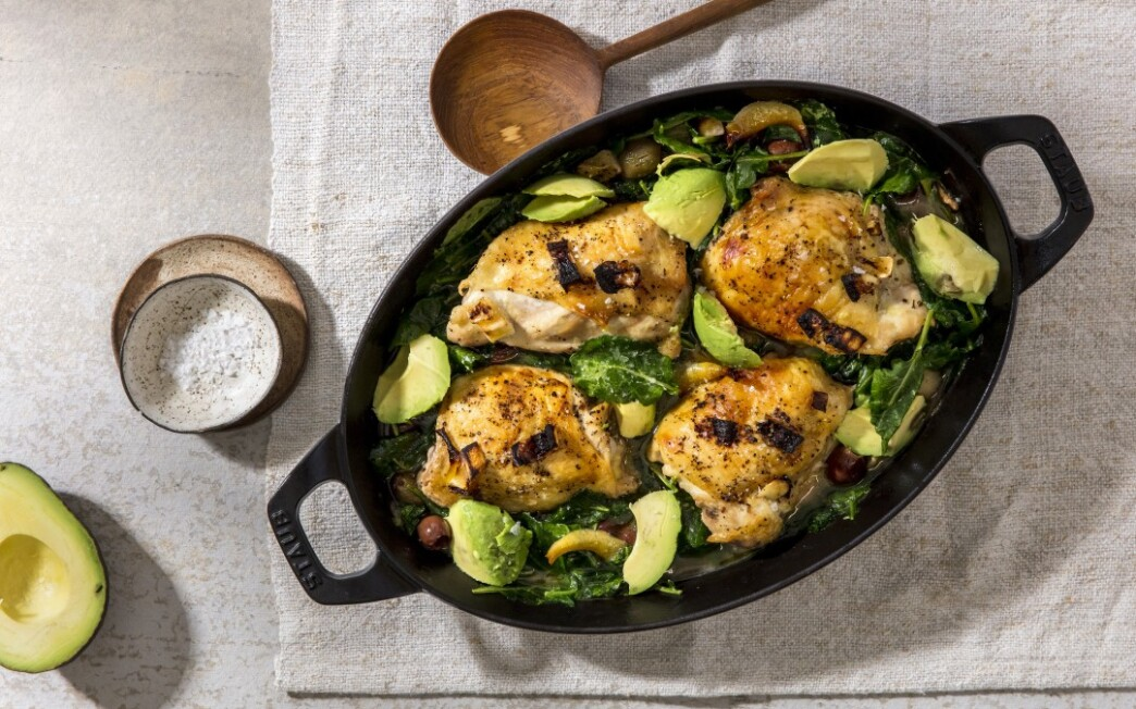 Keto Brine-Braised Chicken Thighs With Kale and Avocado