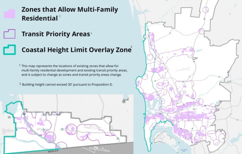 A map from the city of San Diego shows where the Complete Communities housing solutions program applies.