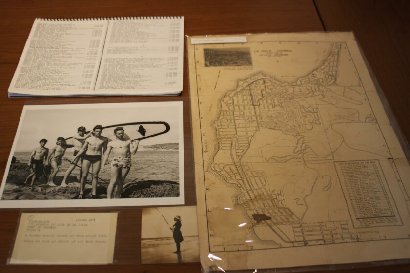 Old maps and photos constitute a big part of the La Jolla Archive.