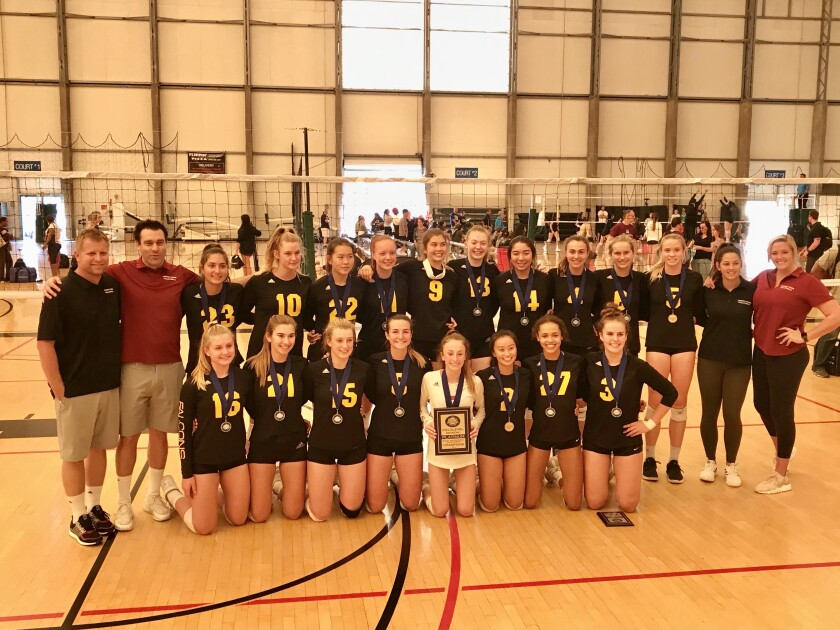 The Torrey Pines High School girls volleyball team placed first in the Platinum Division at the recent SoCal Invitational Volleyball Tournament. Carly Diehl was named tournament MVP, Trinity Durfee and Megan Kraft were chosen to the all-tournament team. Front row: Anna Hellickson, Jenna Remick,Cami Appiani, Delaynie Maple, Christiana Braswell, Bella Chan, Maya Satchell, and Carly Diehl Back row: Coach Brennan Dean, Coach Nick Rubacky, Lexi Strickland, Hannah Flannery, Alice Yu, Brooklyn Burns, Claire Deller, Trinity Durfee, Asia Parks, Audrey Hayes, Sophia Callahan, Meg Kraft, Coach Hannah Miller, and Coach Jeana Holman