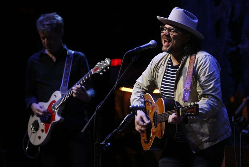 Jeff Tweedy, with Nels Cline, left, playing with Wilco at the Ace Hotel in 2016