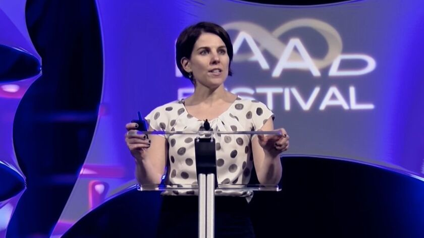 Kristin Comella of US Stem Cell speaks at RAAD Festival in 2016.