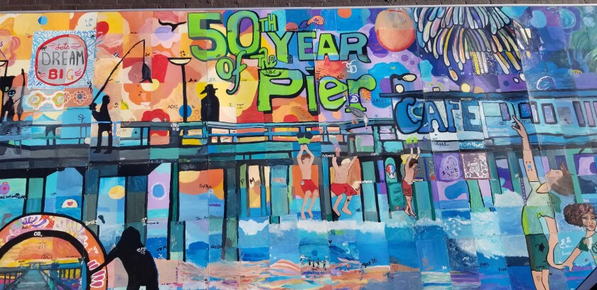 2016's mural celebrated the 50th anniversary of the OB Pier. You'll find it on Gianni Buonomo Vintners' side wall, 4836 Newport Ave.