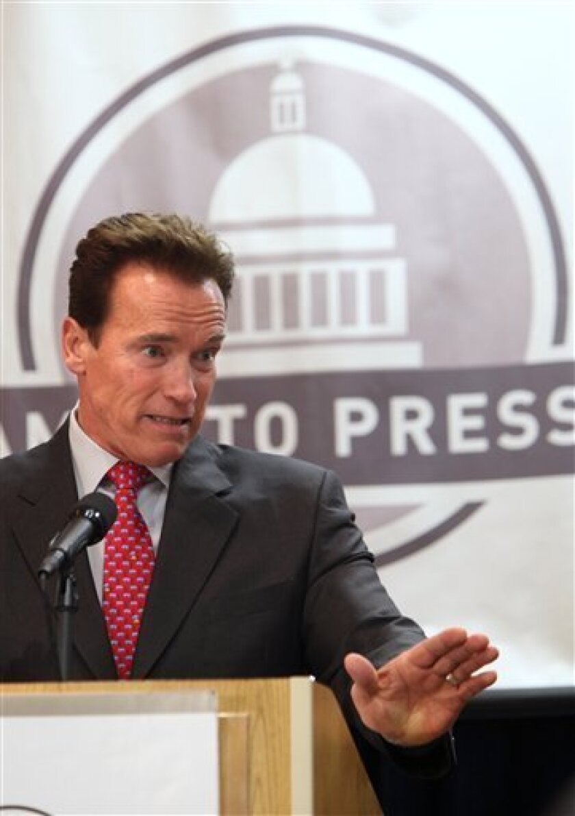Gov. Arnold Schwarzenegger speaks at the Sacramento Press Club in Sacramento, Calif., Monday, Jan. 25, 2010. Schwarzenegger says he doesn't blame Californians for believing that the state will be worse off when he leaves office than when he started. A new Field Poll release Sunday found that Schwar