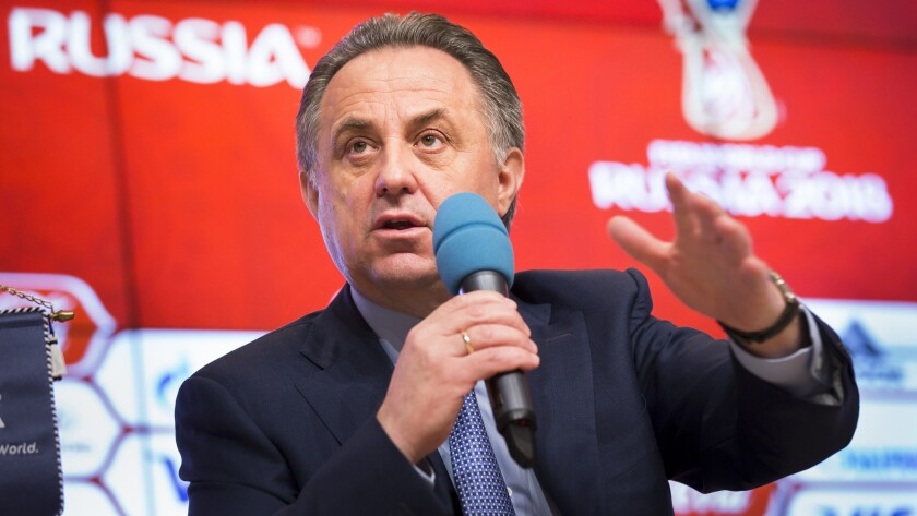 Russian Sports Minister Vitaly Mutko speaks during a news conference in Moscow on Wednesday.