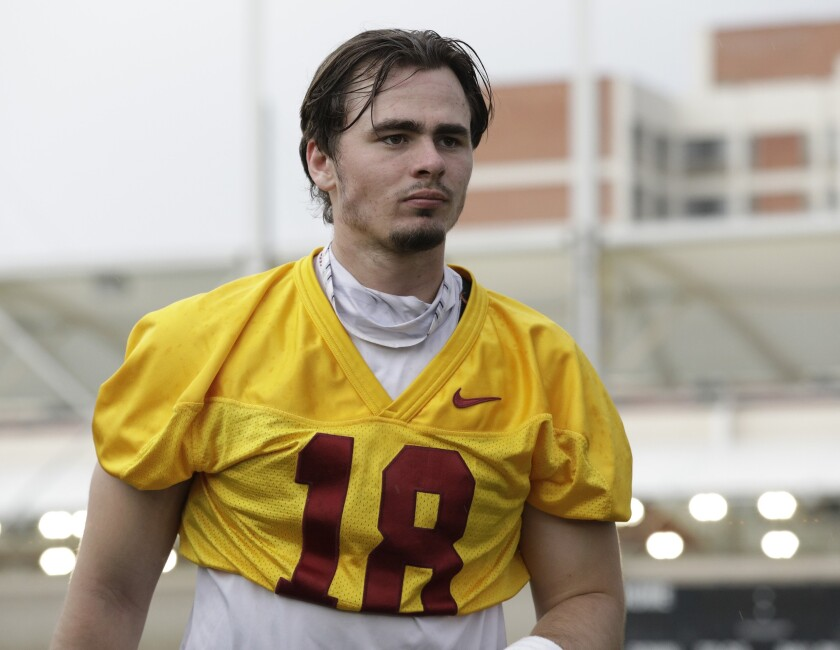 USC quarterback JT Daniels at practice on the campus of USC.