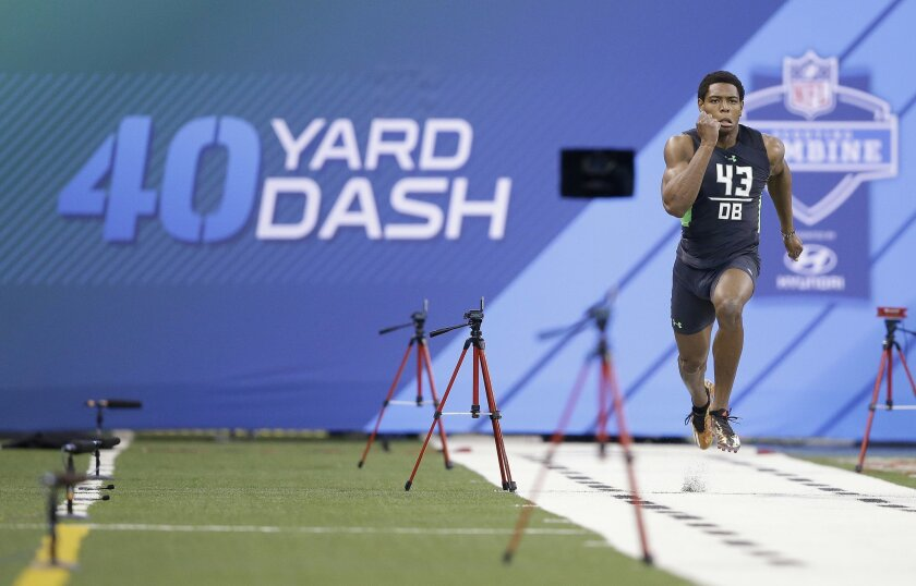 Florida State defensive back Jalen Ramsey runs the 40-yard dash at the NFL football scouting combine on Monday, Feb. 29, 2016, in Indianapolis. (AP Photo/Darron Cummings)