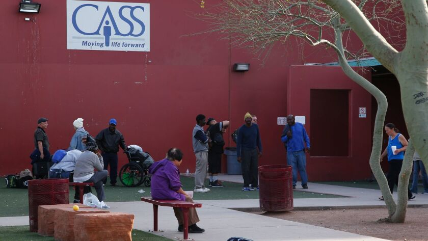 The campus of the Central Arizona Shelter Services in Phoenix includes an open courtyard for clients to relax at.