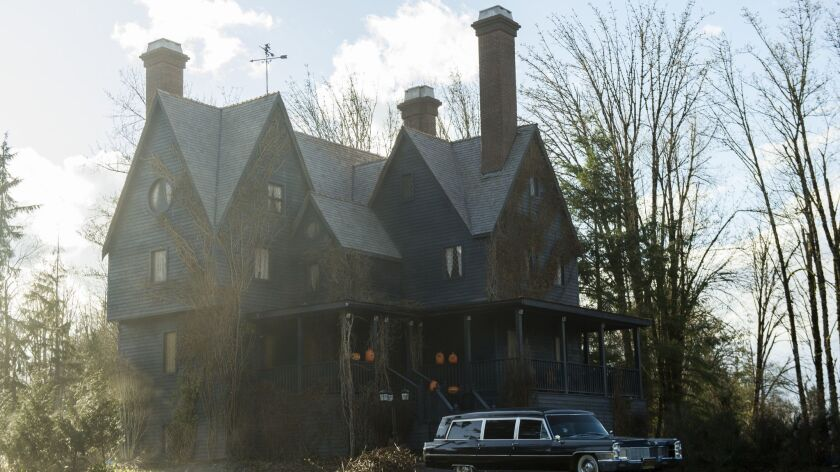 "An exterior shot of the Spellman house featured in ""Chilling Adventures of Sabrina."""