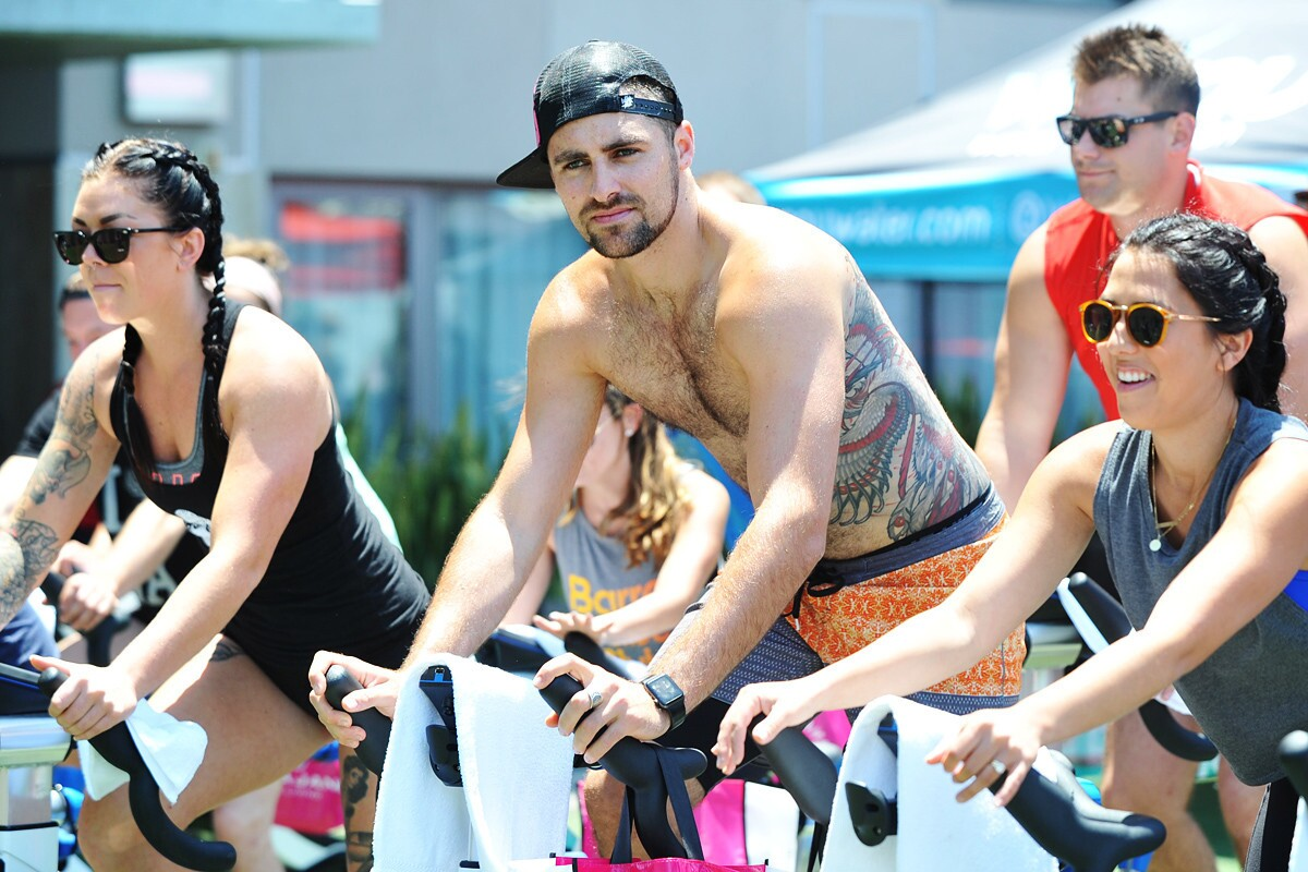 The sun couldn't keep cyclers away from Pure Indoor Cycling's Barks & Bikes at Sunburn Pool Lounge on June 24, 2017 at downtown's Hard Rock Hotel. Proceeds from the event benefited The Animal Pad all-breed dog rescue. (Rick Nocon)