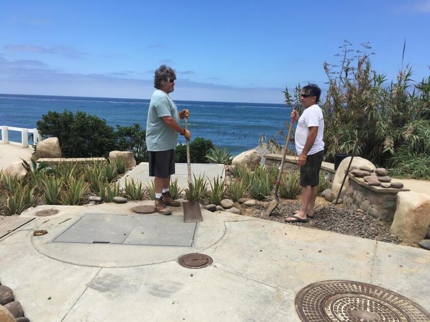 KUDOS, CITIZENS! Jeff Tanzola and Mike Flower, volunteers for Friends of WindanSea, recently planted more than 85 aloe vera plants on the south side of the parking lot at WindanSea to beautify the spot even more than it already is! — Melinda Merryweather