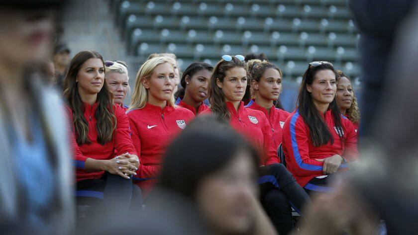 CARSON, CALIF. -- MONDAY, JULY 31 2017: Members of the U.S. Women's Soccer Team listen to LA Mayor E