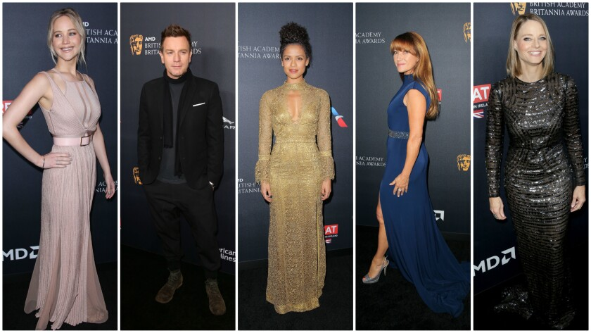 From left, Jennifer Lawrence in Elie Saab, Ewan McGregor, Gugu Mbatha-Raw in Burberry, Jane Seymour in Jovani, and Jodie Foster in Burberry.