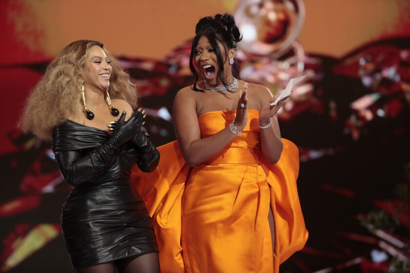 March 14, 2021 - Grammy Awards Beyonce and Megan Thee Stallion