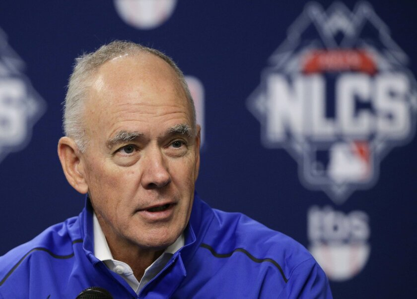 FILE - In this Friday, Oct. 16, 2015 file photo, New York Mets general manager Sandy Alderson answers questions for the media during a news conference in New York. New York Mets general manager Sandy Alderson says his long-term prognosis is good as he undergoes cancer treatment, Wednesday, Feb. 17,