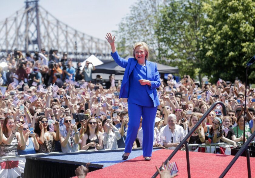 Hillary Clinton arrives on Roosevelt Island in New York on Saturday to officially launch her campaign for the Democratic Party's 2016 presidential nomination.