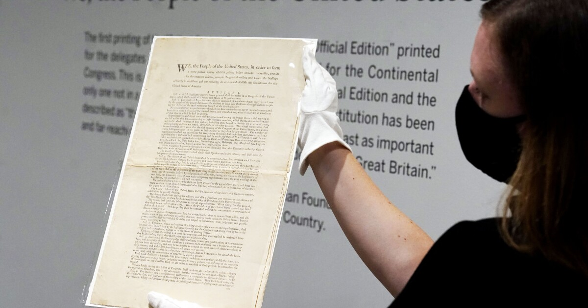 A rare 1787 copy of the U.S. Constitution heads to auction. But first, the public gets to see