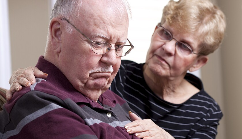 A senior man who is depressed and a concerned spouse