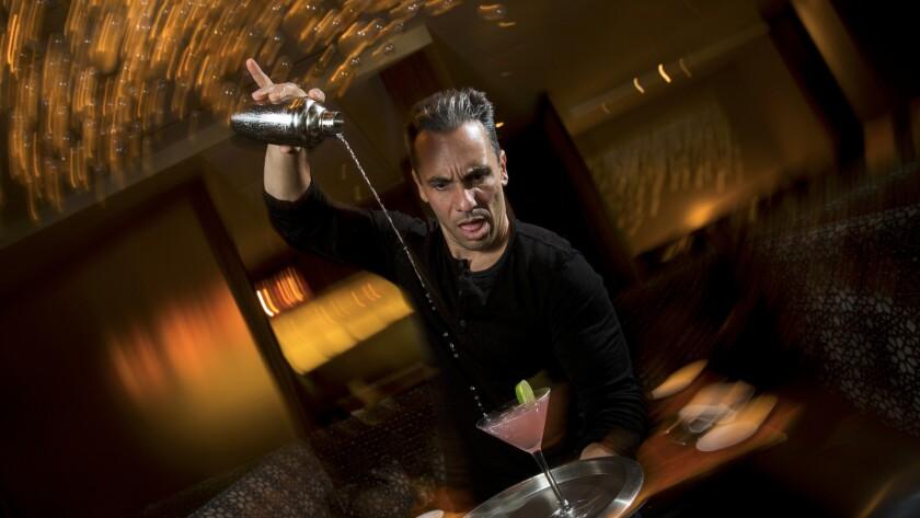 Sebastian Maniscalco demonstartes his martini-making skills.